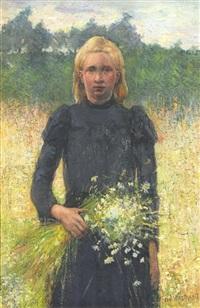 meisje met veldbloemen by theodor verstraete