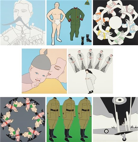 panoply eight silkscreen prints inspired by the splendours of the great war portfolio set of 8 by john wesley