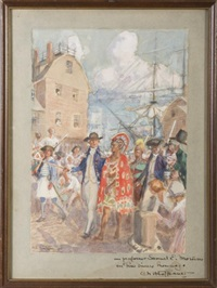 captain gray and atooi landing on long wharf, boston, on august 9, 1790 by charles hoffbauer