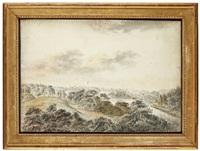utsikt över brunnsviken i hagaparken i höjd med gustaf iii: s paviljong med ekotemplet och amor och psyketemplet by carl peter hillestrom