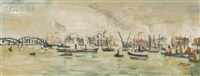 rotterdam - le port (+ le port de casablanca esquisse; 2 works) by louis cazals