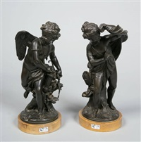 amours chassant (pair) by etienne maurice falconet