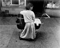 girl with baby carriage by leon levenstein
