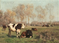 cattle in a summer landscape by aymar (aimard alexandre) pezant