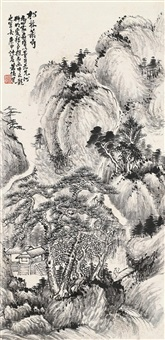 松林萧寺图 立轴 by xiao junxian