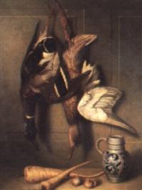 still life of dead mallard in a larder by arnoldus bloemers