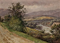 view of a river, probably the river dee by william baptiste baird