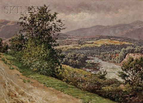 view of a river probably the river dee by william baptiste baird