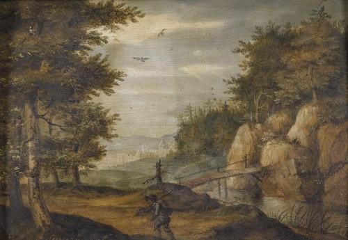 felsige landschaft mit einem wanderer by roelandt savery