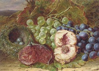 grapes, a fig, a peach and a bird's nest on a mossy bank by william h. ward