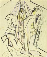 badende unter dusche (+ 2 others; 3 works from scetchbook) by werner gothein