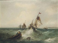 fishing trawlers in a heavy swell off the isle of man by william edward webb