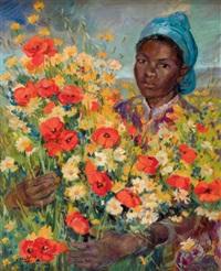 portrait d'une marocaine du sud au bouquet de fleurs by edmond vales