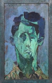 portrait of a man (green face) by joseph solman