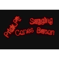 sagging bacon cones, prick pit by jason rhoades