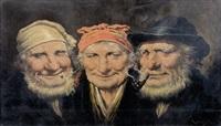 porträts zweier rauchender bauern und einer bäuerin by roman arregui