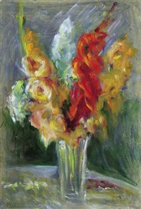 gladioli in glass vase by anatoli yablokov the elder