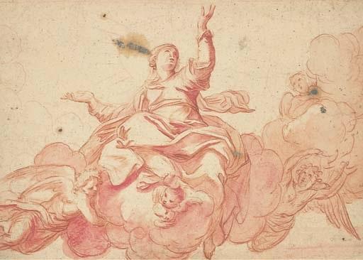 la vierge sur un nuage entourée danges by antoine dieu