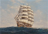 a clipper ship in high seas by denzil smith