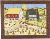 harvest farm scene with haystacks and pumpkins before a house and barn by bill rank