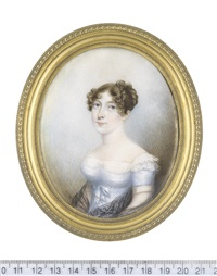 a lady, wearing pale blue dress with white lace underslip and sleeve trim, a black lace shawl about her arms, her brown hair curled and upswept by nathaniel freese