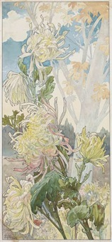 quatre planches fleurs décoratives: chrysanthèmes, iris, pivoines et tulipes (set of 4) by henri privat-livemont