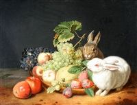 still life with rabbits and fruit by jacob samuel beck