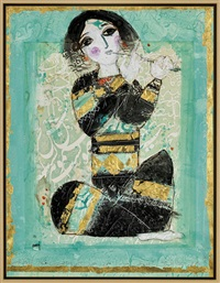 the flute player in turquoise by nasser ovissi