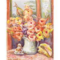 gladioli and figurine, quaint acres studio by aleen aked