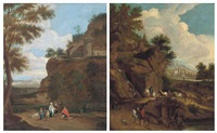 a mountainous landscape with figures conversing on a track, a village beyond (+ a mountainous landscape with figures leading horses on a track...; 2 works) by jan frans van bredael the elder