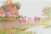 the plough team at dusk by adelaide haslegrave