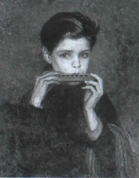 portrait of philip buchel with a harmonica by charles a. buchel