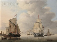 vessels in a calm port by jan hendrik boshamer