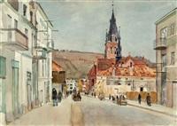 straße und kirche in nadworna by bernhard kretzschmar
