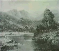 a river landscape nr snowdonia by h. k. foster