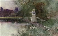 watching the harvest (+ a milkmaid returning home at dusk, smllr; 2 works) by thomas mackay