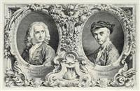 doppelbildnis von antonio canale und selbst im oval mit umfangreichen bordürenwerk by antonio visentini