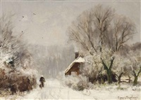 a cottage in winter by louis apol
