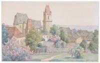 blick auf perchtoldsdorf mit martinskirche, pfarrkirche und wehrturm by hans götzinger
