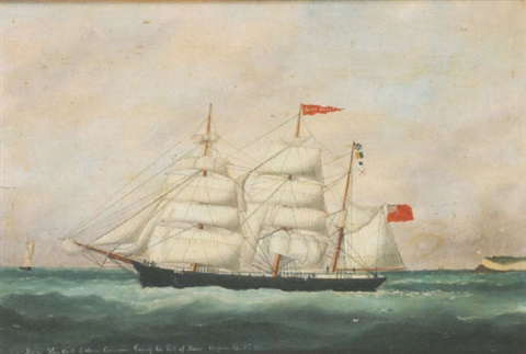 the barque shon quilt leaving le havre by edouard the younger adam