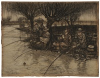 anglers in the rain by arthur rackham
