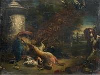 nature morte de gibier et un chien dans un paysage by adriaen de gryef