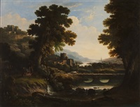 riverscape with figures by richard wilson
