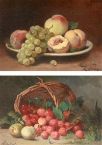 nature morte (pair) by léon charles huber