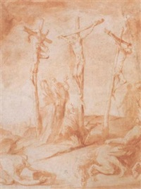 the crucifixion with the virgin, mary magdalen and saint john by francesco (da gubbio) allegrini