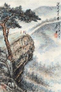 松林远眺 立轴 设色纸本 by tang yun