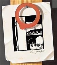 trompe l'oeil mit linolschnitt und rotem gummiring by klaus langkafel
