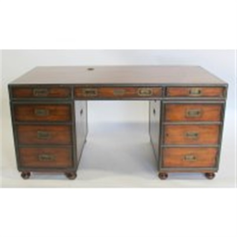 Theodore Alexander Campaign Style Walnut Desk By Theodore ...