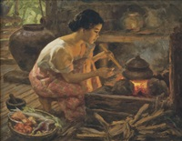 girl preparing a meal by fernando cueto amorsolo