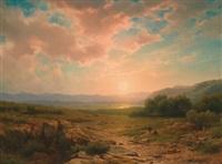 sonnenuntergang vor weiter landschaft by cornelis lieste